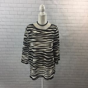 Sheer Mesh Stripe Chico's Travelers Collection Top
